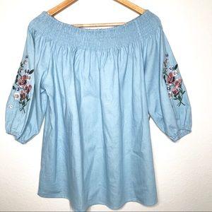 Lavish Off the Shoulder Floral Embroidered Blouse